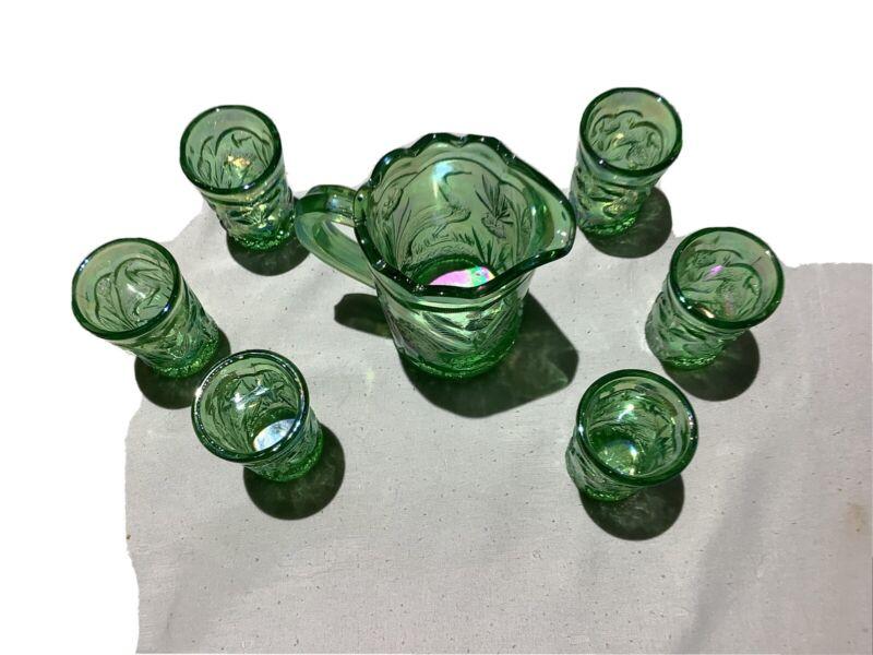 SUMMIT ART GLASS GREEN CARNIVAL GLASS PEACOCK PATTERN MINIATURE WATER SET