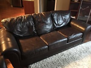 Oversize Leather Couch & Chair