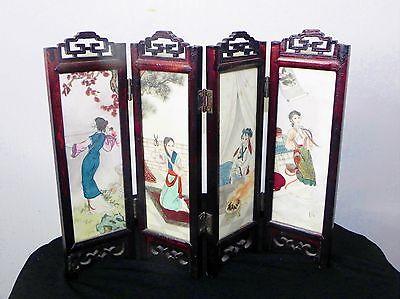Vintage Japanese Hand Painted Stone Table Screen Geisha Girl & Mountains 4 Panel