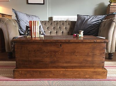 Old PINE CHEST, Wooden Blanket TRUNK, Coffee TABLE, Vintage Tool Toy Storage BOX for sale  Richmond