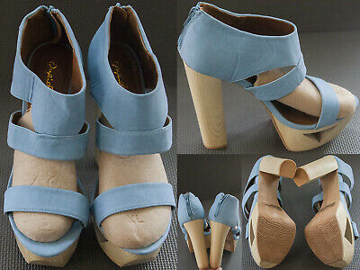 Qupid Shoes Women's Size US 11 Blue Manmade Heels