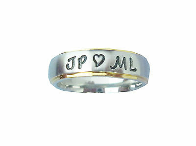 New Custom Personalized Couple's Name Ring With Heart, Stainless Steel/Gold Edge](Couple Customs)