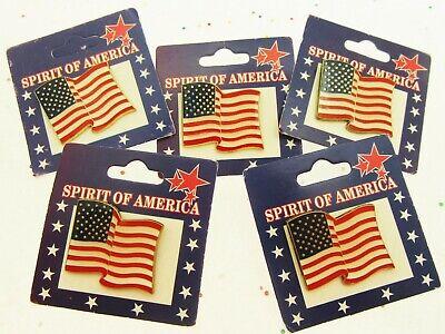 5 Spirit of America Flag Lapel Pins Patriot Holiday Memorial Veterans July 4th  - Spirit Halloween Veterans