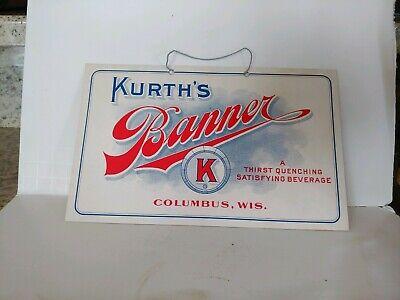 Kurth's Banner Beverage cardboard sign Columbus, Wis.