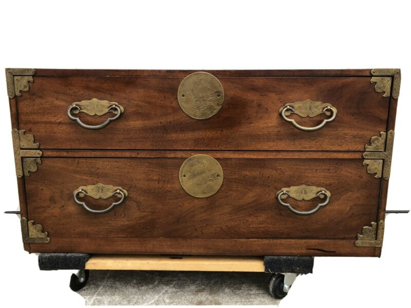 (2) Pair of Henredon Tansu Style Mahogany Campaign Chests ~Two Drawer ~Cape Cod
