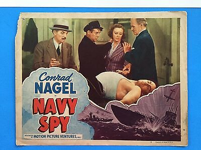 NAVY SPY Lobby Card (Poor) 1947 ReRelease Conrad Navel US Navy 8314