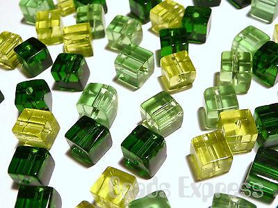 (100pc 4mm Quality Mini Crystal Glass Cube Beads - Green Mix (BC4024))