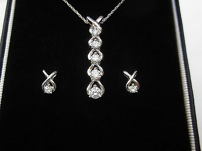 Diamond Pendant Necklace Matching Earrings Jewelry Gift Set 14k White Gold