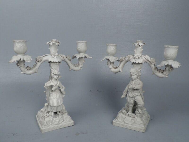 Pr Figural French Bisque Porcelain Candelabra - EX-Henry Francis DUPONT pc