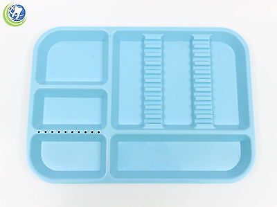Dental Instrument Set Up Tray Includes Bur Holder Section Baby Blue Color Size B