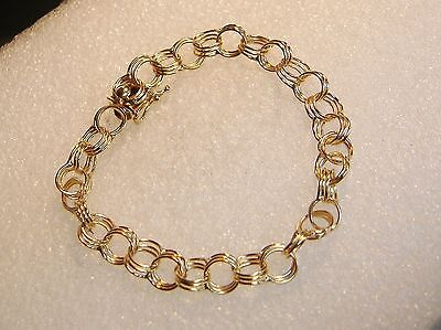 14K YELLOW GOLD TRIPLE RING CHAIN LINK 7.25 INCH CHARM BRACELET -