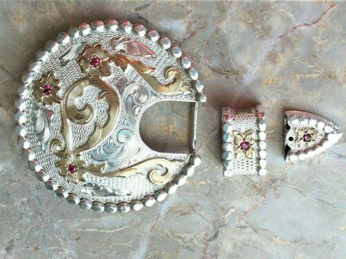 Vintage CARLOS SILVER Ladies Three Piece Belt Buckle Set - Beautiful