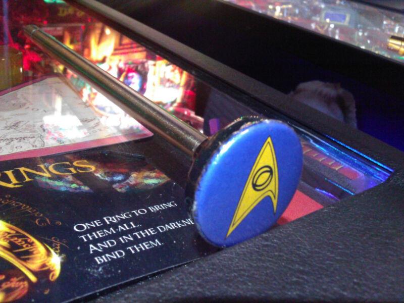 Star Trek Pinball  Blue Insignia Custom Pinball Shooter Rod!