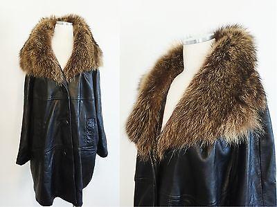 vtg 60s black LEATHER SWING COAT large RACCON FUR collar OVERSIZED drape SZ M L