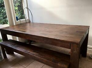 OzDesigns Dark Timber table and two benches - DELIVERY AVAILABLE Coogee Eastern Suburbs Preview