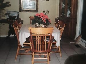 Solid Oak Wood Table with 6 Chairs