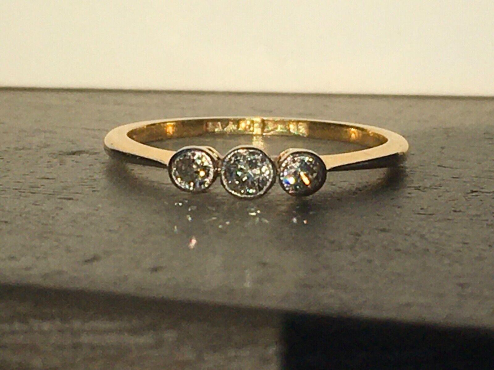Art Deco Ring 18 ct Gold Platin 3 Diamanten
