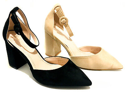 Chunky Block Heel Closed Pointy Toe Ankle Strap Buckle High Mid Heels Pumps Shoe