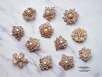 12 Rose Gold Brooch Lot Pearl Pin Wholesale Rhinestone Crystal Wedding Bouquet