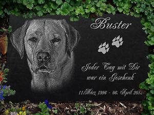 GRABSTEIN Tiergrabstein Gravur Hunde Hund-039 ► 30 x 20 cm ◄ Ihr Foto + Text