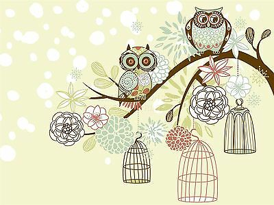 ART PRINT POSTER PAINTING DRAWING ORNATE OWLS TREE BIRDCAGE PICTURE LFMP1092