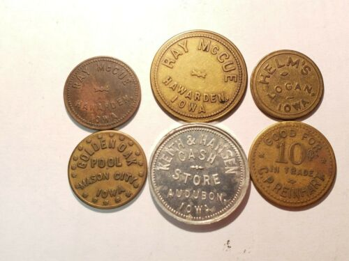 6 IOWA TOKENS , SEE PICTURES L186