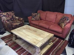 MAKE OFFER Ashley living room set with Mango Wood table