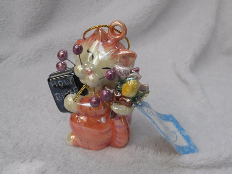 """WhimsiClay """"Trinity"""", colorful religious Cat Ornament, benefits animals"""
