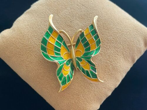 Vintage Crown Trifari Vibrant Green & Yellow Enamel Butterfly Brooch Pin