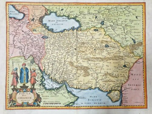 1634 PERSIA EMPIRE ACHAEMENID IRAN ASIA AFRICA ARABIA BEAUTIFUL COLOR MAP EAST
