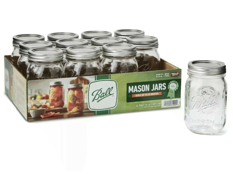 BALL 12pk 16oz Regular Mouth Pint Canning Mason Jars, Lids & Bands Clear Glass
