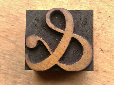 Antique Letterpress Wood Type Printers Block Beautiful Curvy - And Ampersand