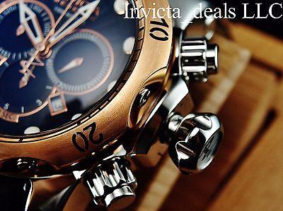 Invicta Reserve VENOM Swiss Made Chronograph Black Dial Rose Tone Leather Watch