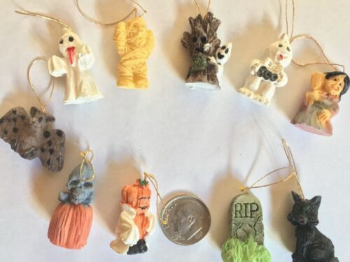 Halloween Mini Ornaments/Decorations/Mini-Tree Set of 10 Ghost Witch Mummy NEW