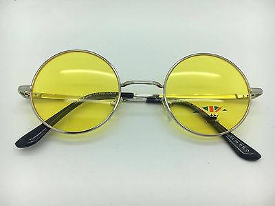 Silver Frame With Coloured Lenses John Lennon Type Round Sunglasses