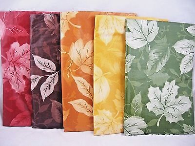 Assorted Colors & Sizes Red Brown Gold Green Autumn Fall Leaves Vinyl Tablecloth