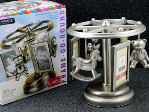 LAWRENCE Baby Musical Photo Frame WindUp Silver Carousel Holds 6 Wallet Pictures