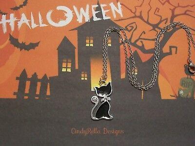 Cute Black Cat Rhinestone Enamel Halloween Charm Necklace (Black Cat Cute Halloween)
