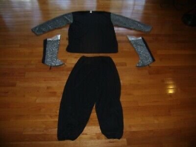 Silver Costume Boots (Medieval Knight Disco Halloween Costume Black Top,Pant,Boots Silver Plus Size)