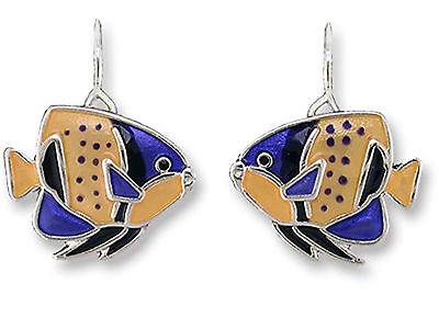 Majestic Angel Fish - Majestic Angelfish Ultrafine Enamel Dangle Earrings By Zarah