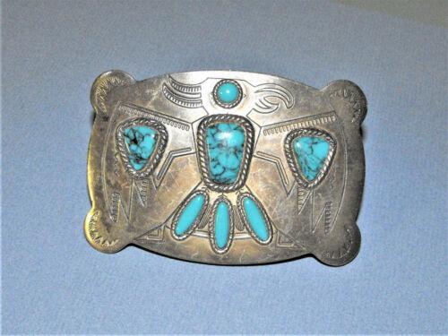 Vintage Sanford Southwestern Thunderbird Belt Buckle Silver Tone Faux Turquoise