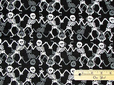 Delightful Fabric (Frightful & Delightful Black Skeleton Halloween Fabric by the 1/2 Yd #9898)