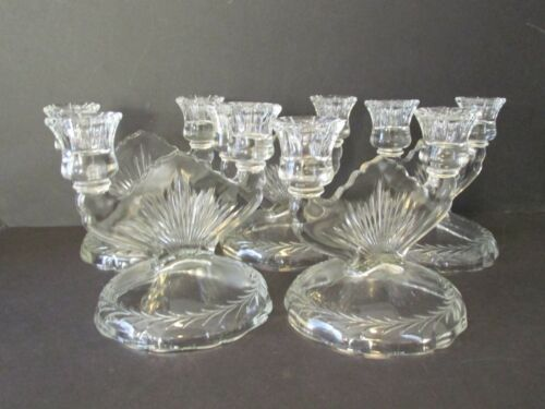Vintage 5 Pieces Art Deco Glass Candle Holder Clear Glass