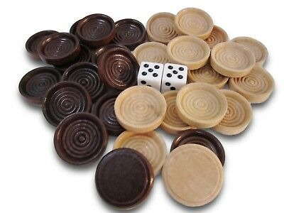 30 Backgammon Pieces Wooden Checkers + 2 Dice Wood Dark Brown Natural 1.25""