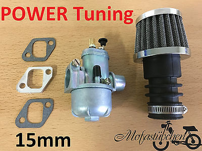 Power TUNING Vergaser 15mm inkl. Sportluftfilter Hercules Prima M 2 3 4 5 Mofa
