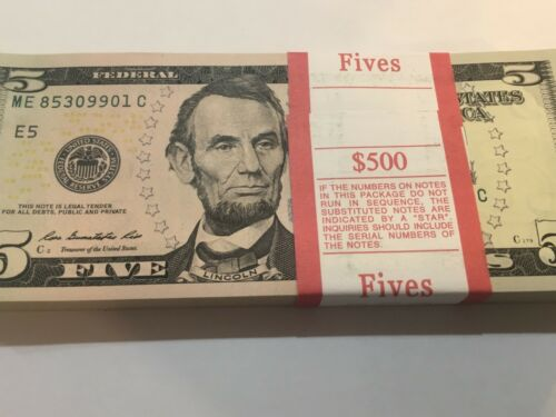 2013 20 New Uncirculated $5 (Five Dollar Bill Note Sequential BEP --Series 2013