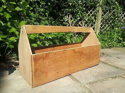 Rustic Wooden Garden Trug Herb Planter Plant Pot Bottle Carrier Tool Box Plywood