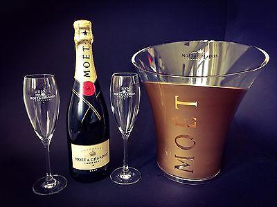 Moet Chandon Imperial Champagner Flasche 0,75l 12% Vol + 2 Gläser + Gold Kühler