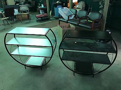 1 Mid-Century Style Round Circle BLACK METAL PLANT STAND Shelf Bookcase