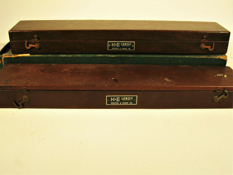Two Sets Of K&E Drafting Tools In Dovetailed Mahagony Collectible Boxes